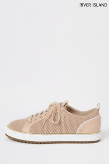 River Island Pink Knitted Lace-Up Trainers