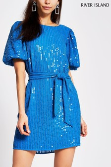 River Island Blue Puff Sleeve Sequin Dress