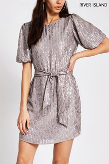 River Island Purple Puff Sleeve Sequin Dress