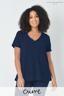 Live Unlimited Curve Navy Cotton Swing T-Shirt