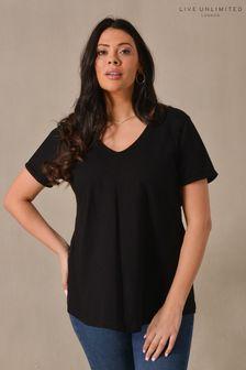 Live Unlimited Curve Black Cotton Swing T-Shirt