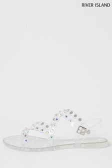 River Island Natural Asymmetric Jelly Sandals