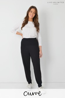 Live Unlimited Curve Black Tapered Jersey Trousers