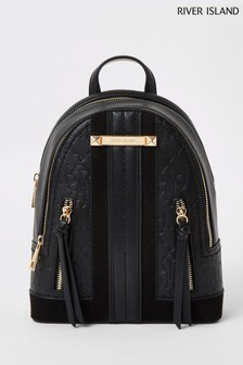 River Island Black Panelled Backpack