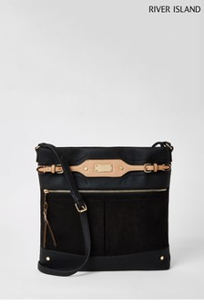 River Island Black Med Western Messenger Bag