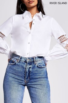River Island White Lace Insert Balloon Sleeve Shirt