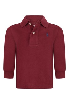 Baby Boys Burgundy Cotton Long Sleeve Polo Top