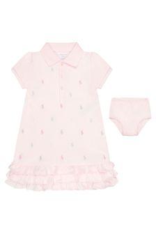 Ralph Lauren Kids Baby Girls Pink Cotton Logo Dress