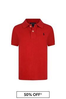 Boys Red Cotton Polo Top