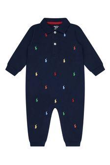 Baby Boys Navy Cotton Logo Coverall