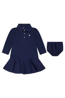 Baby Girls Navy Cotton Long Sleeve Polo Dress