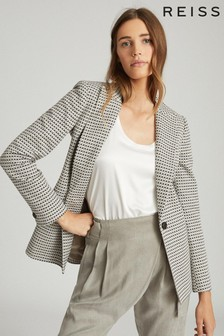 Reiss Black/White Astara Cotton Blend Tailored Blazer