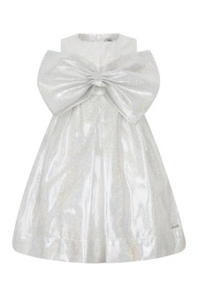 Girls Silver Silk Glittery Bow Dress