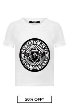 Balmain Boys White Jersey Logo T-Shirt