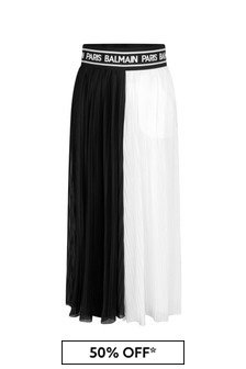 Balmain Girls Black & White Viscose Pleated Trousers