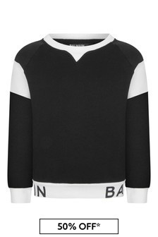 Boys Black & White Cotton Logo Sweater