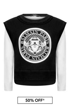 Balmain Boys Black & White Cotton Sweater