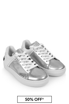 Kids White/Iridescent Leather Trainers