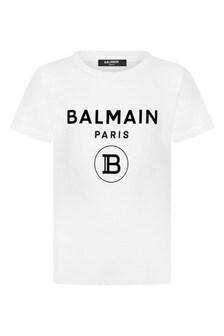 Balmain Boys Cotton Jersey Logo T-Shirt