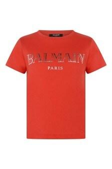 Boys Cotton Logo Print T-Shirt