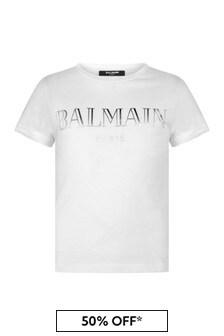 Balmain Girls Cotton Logo Print T-Shirt