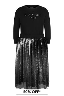 Girls Black Cotton Sequin Dress