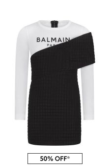 Balmain Girls Black & White Layered Dress
