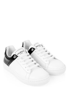 Balmain Kids White & Black Leather Trainers