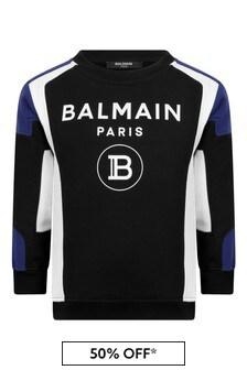 Boys Black Cotton Logo Print Sweater