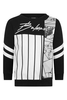 Balmain Boys Black & Silver Cotton Sweater