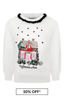 Girls Ivory Cotton Sweater