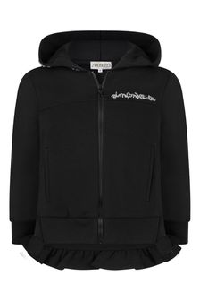 Girls Black Cotton Zip Up Top