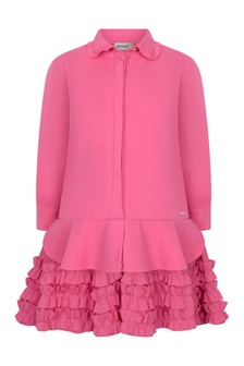 Girls Fuchsia Frilly Trim Dress