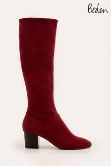 Boden Red Round Toe Stretch Boots