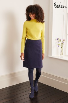 Boden Blue Poppy Boiled Wool Skirt