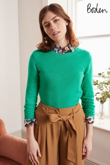 Boden Green Cashmere Crew Neck Jumper
