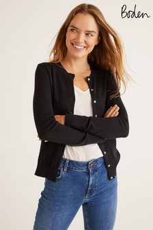 Boden Black Eldon Cotton Crew Cardigan