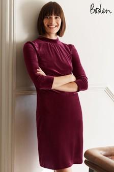 Boden Purple Agnes Velvet Shift Dress