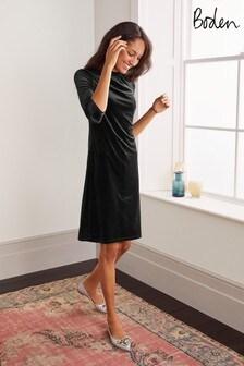 Boden Black Agnes Velvet Shift Dress