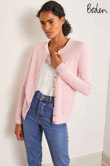 Boden Pink Cashmere Crew Cardigan
