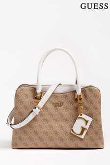 Guess Brown Logo Mika Handbag