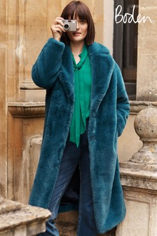 Boden Blue Kenilworth Faux Fur Coat