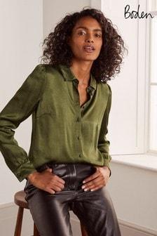 Boden Green Eliza Satin Shirt