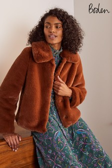 Boden Brown Elsted Faux Fur Jacket
