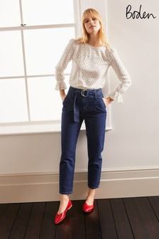 Boden Blue Belted Tapered Leg Jeans