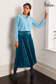 Boden Blue Roberta Velvet Skirt