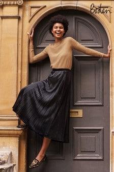 Boden Black Roberta Velvet Skirt