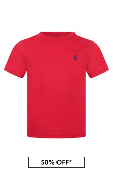 Ralph Lauren Kids Baby Boys Red Cotton Jersey Top
