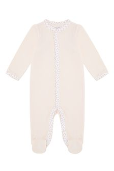 Girls Pink Cotton Babygrow