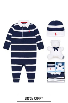 Ralph Lauren Kids Baby Boys Navy Striped Rugby Gift Set (3 Piece)